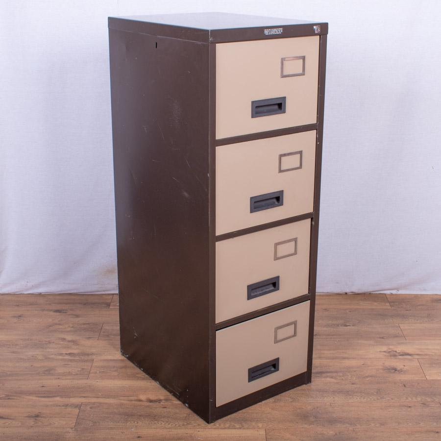 Brown/Cream 4 Drawer Filing Cabinet (FC82)