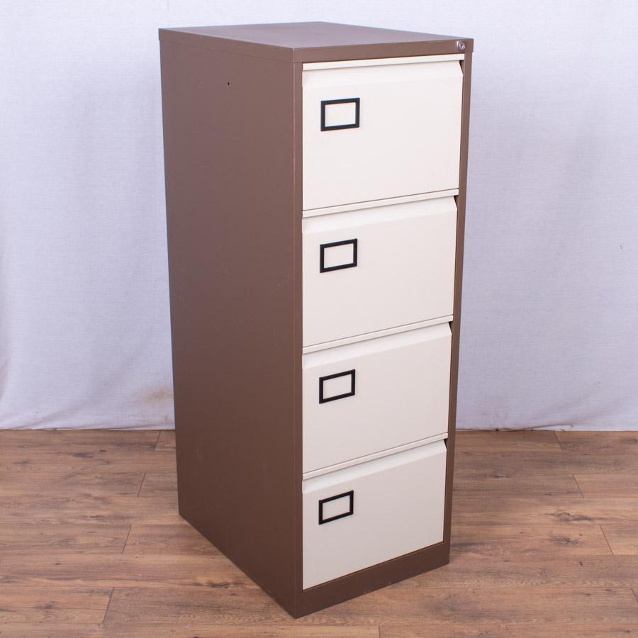 Brown/Cream 4 Drawer Filing Cabinet (FC87)