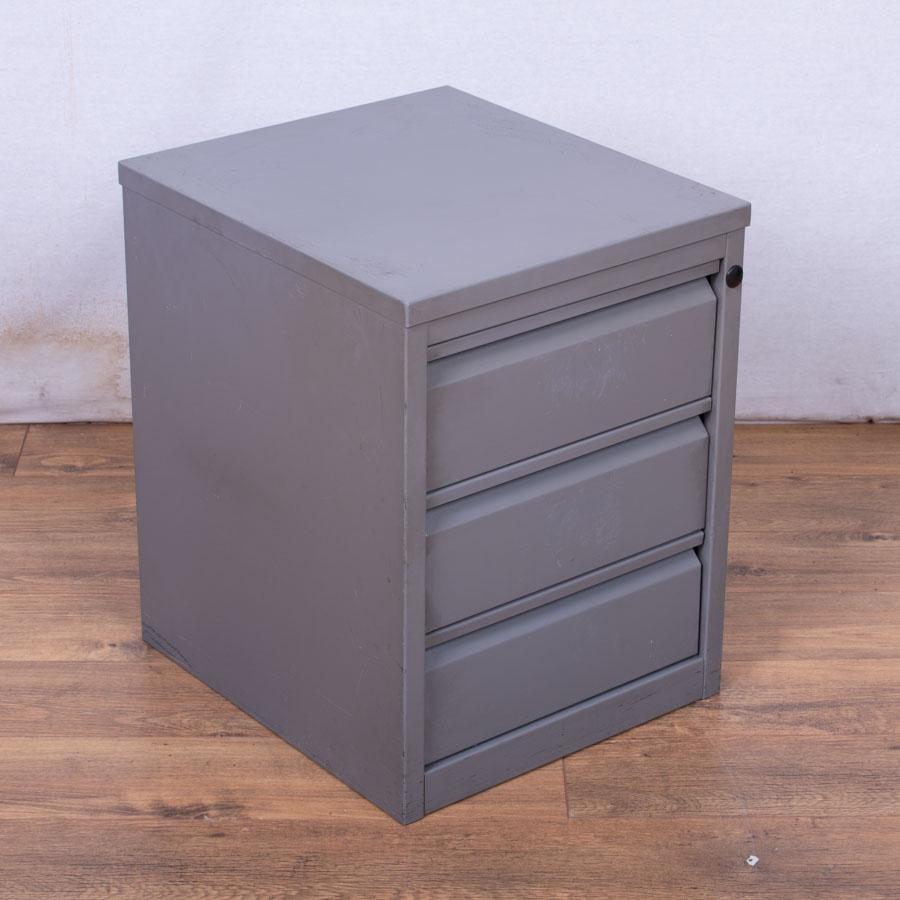 Grey 3 Drawer Media Cabinet