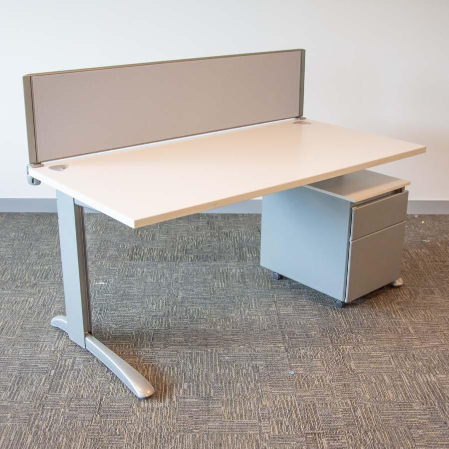 Steelcase Marl White 1600x800 Straight Workstation