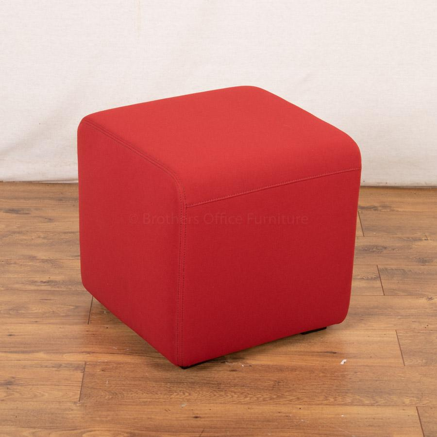 Steelcase Red Fabric Cube Stool