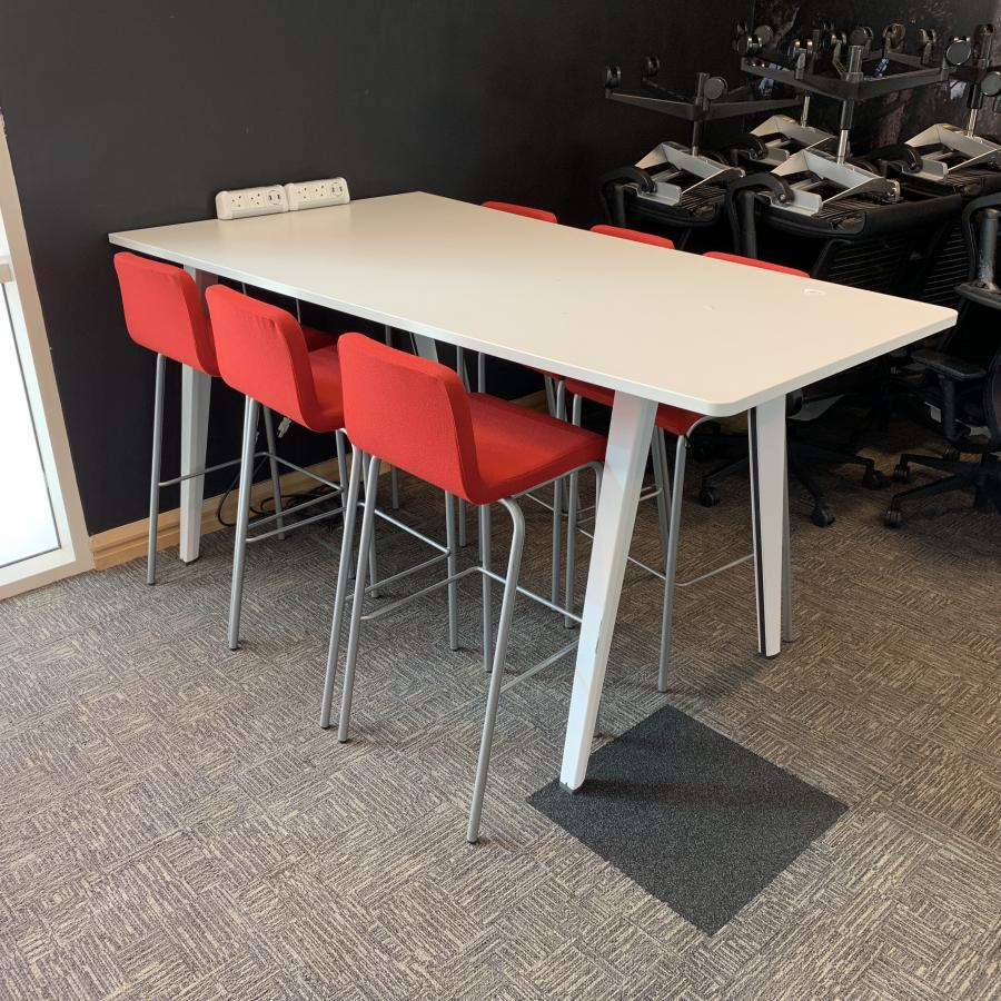 Steelcase White Collaboration Table & Stools