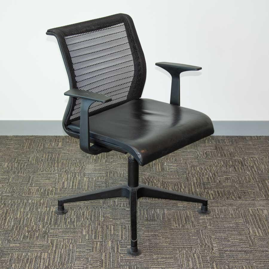 Steelcase Think Leather Seat Mesh Back Swivel Meeting Chairs