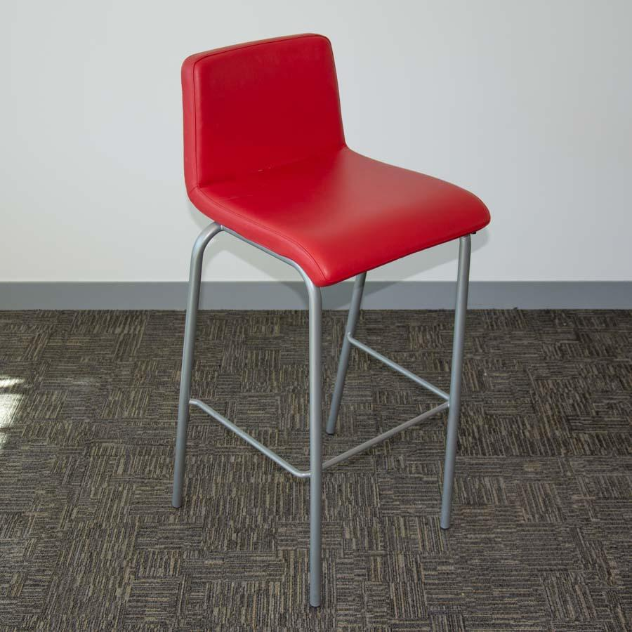 Steelcase Red Leather High Stool