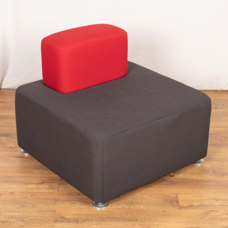 Steelcase Grey/Red Fabric Straight Modular Reception Seat