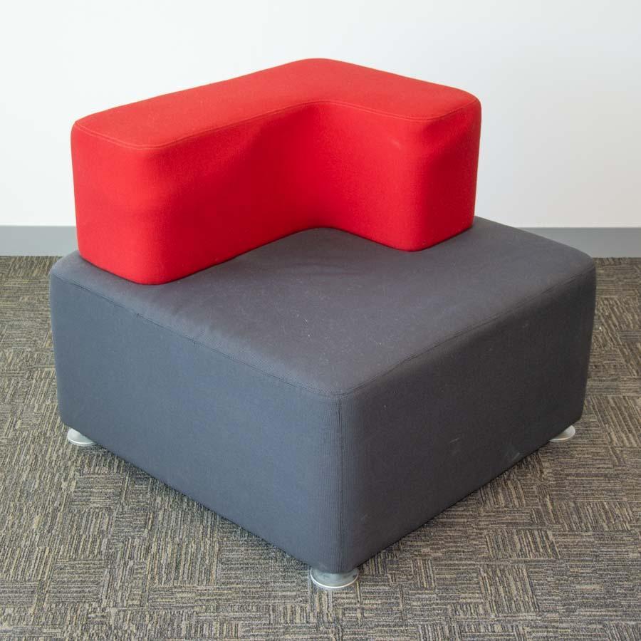 Steelcase Grey/Red Fabric Corner Modular Reception