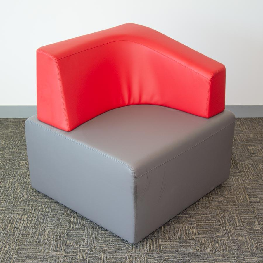 Steelcase Grey/Red Leather Corner Modular Reception Seat