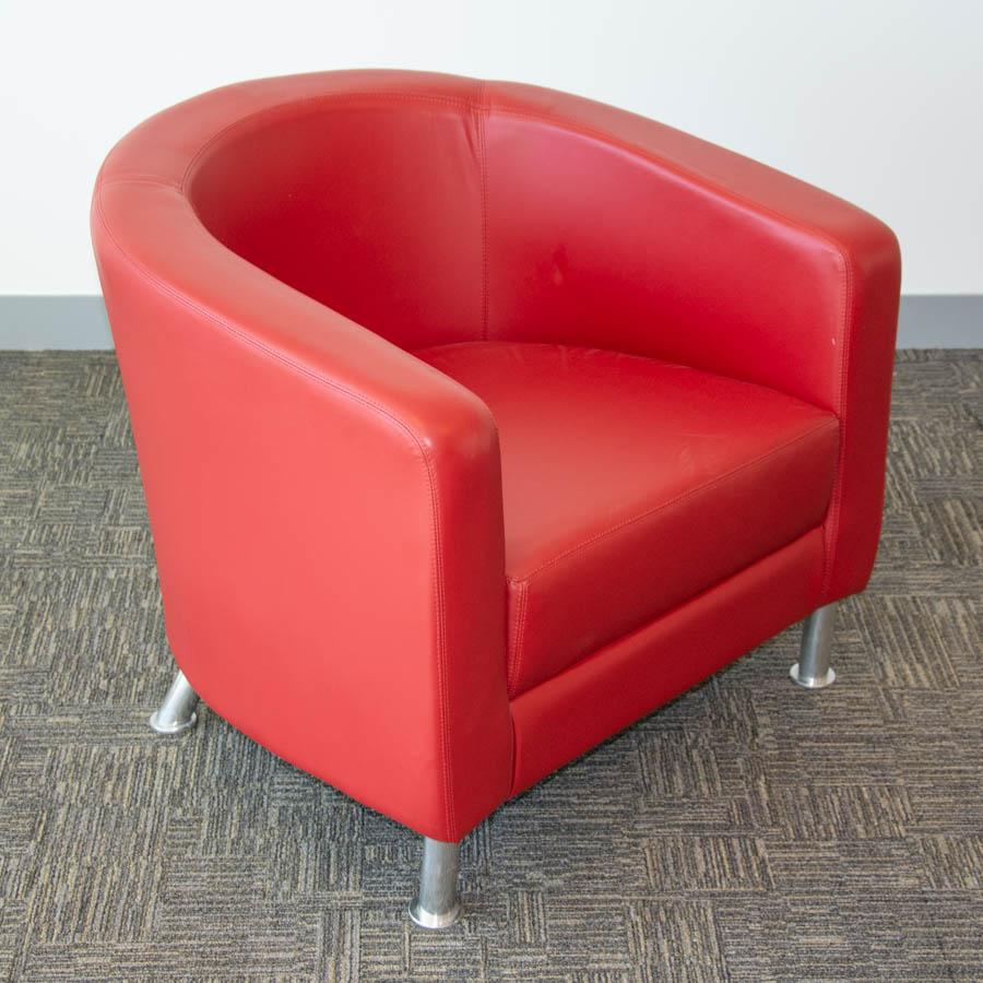 Boss Zoot Red Leather Tub Chair