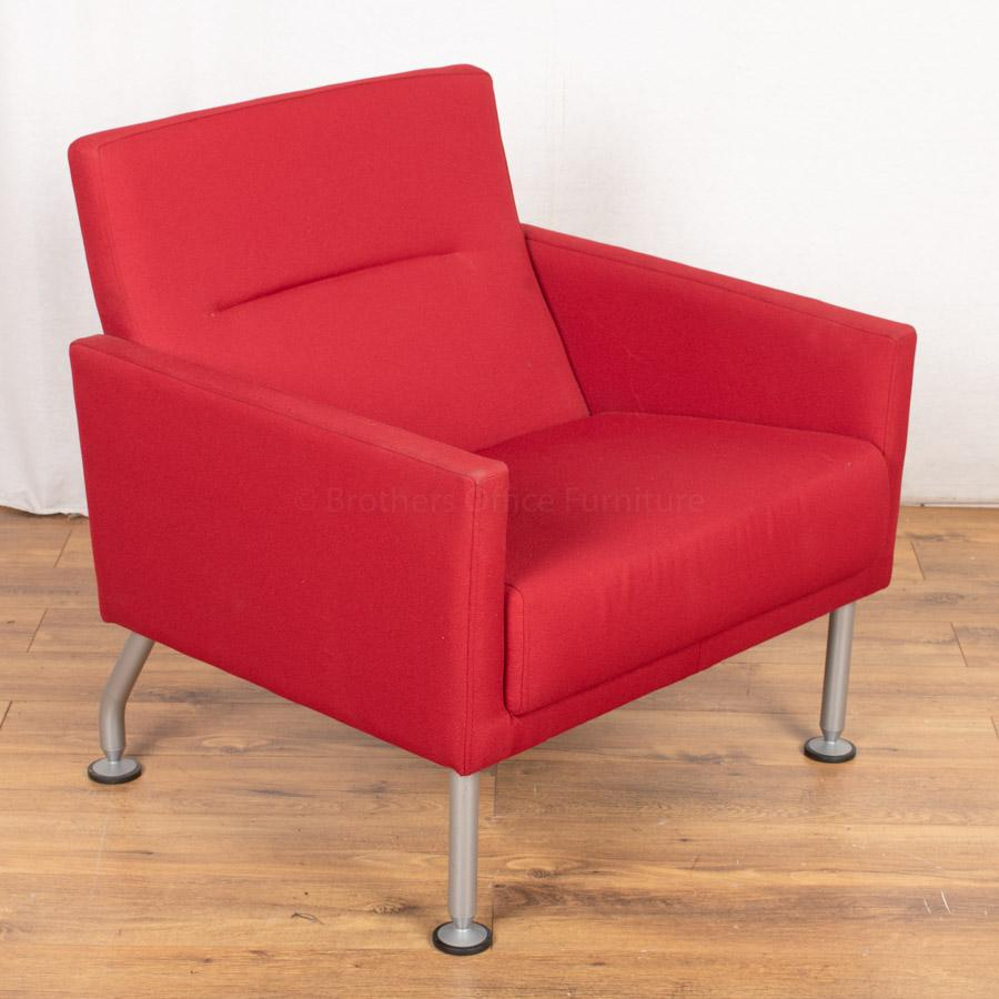 Steelcase Red Fabric Reception Arm Chair