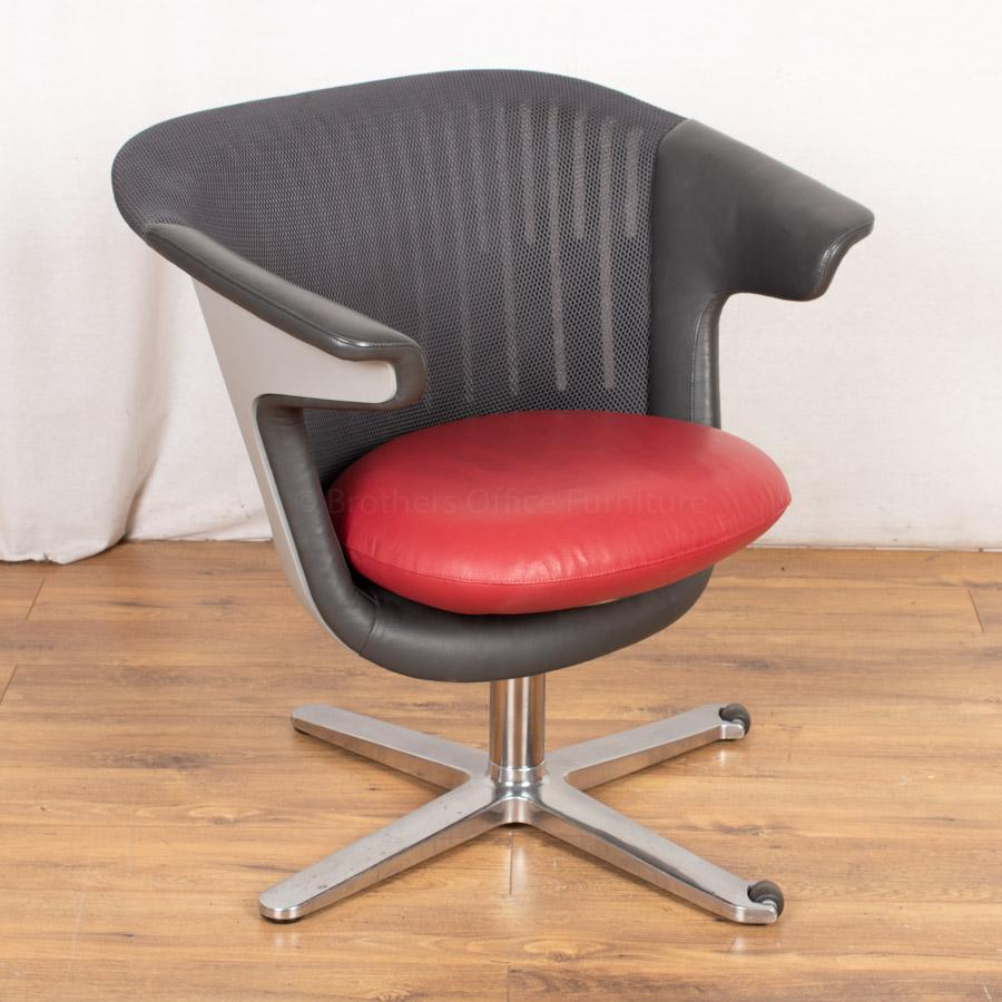 Steelcase Mesh Back Leather Breakout Reception Seat