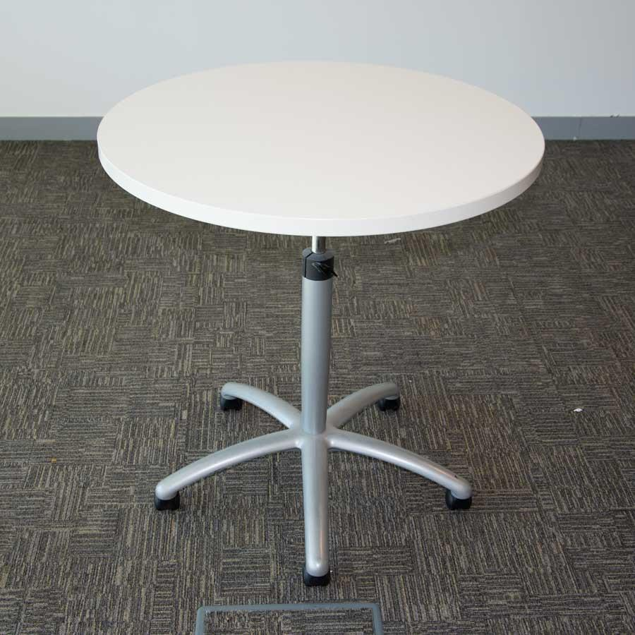 Steelcase White 800D Height Adjust Round Table (RT