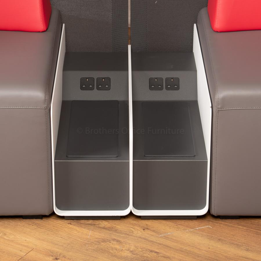 Steelcase Grey/Red Leather Corner Reception Suite
