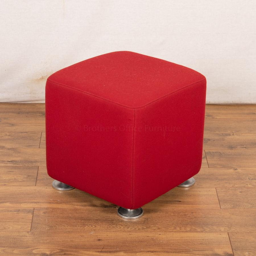 Steelcase Red Fabric Cube Stool Chrome Feet