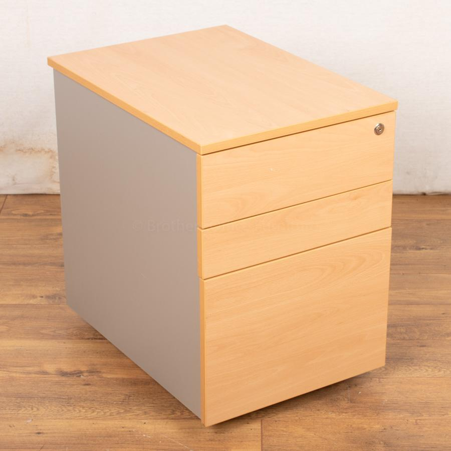 Beech/Silver Under Desk Pedestal (PED60)
