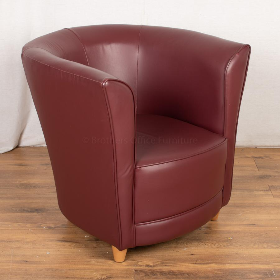 Burgundy Leather Tub Chair