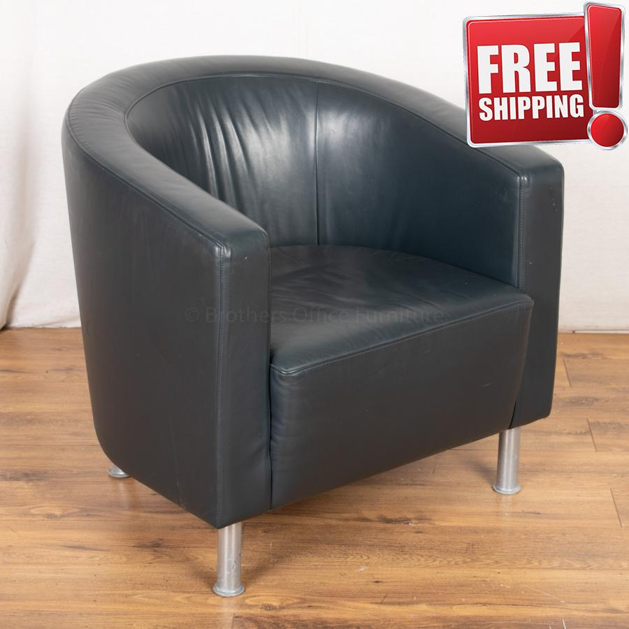 Blue Leather Tub Chair
