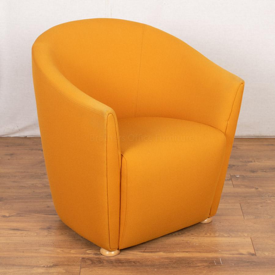 Yellow Fabric Tub Chair