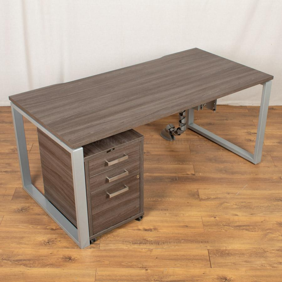 Walnut 1600 Bench Desks | Single