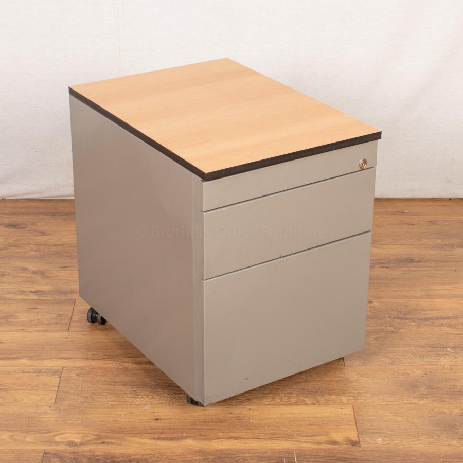 Techo Beech/Silver Under Desk Pedestal