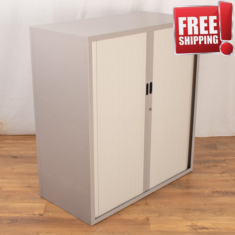 Light Grey 1100H Tambour Cupboard