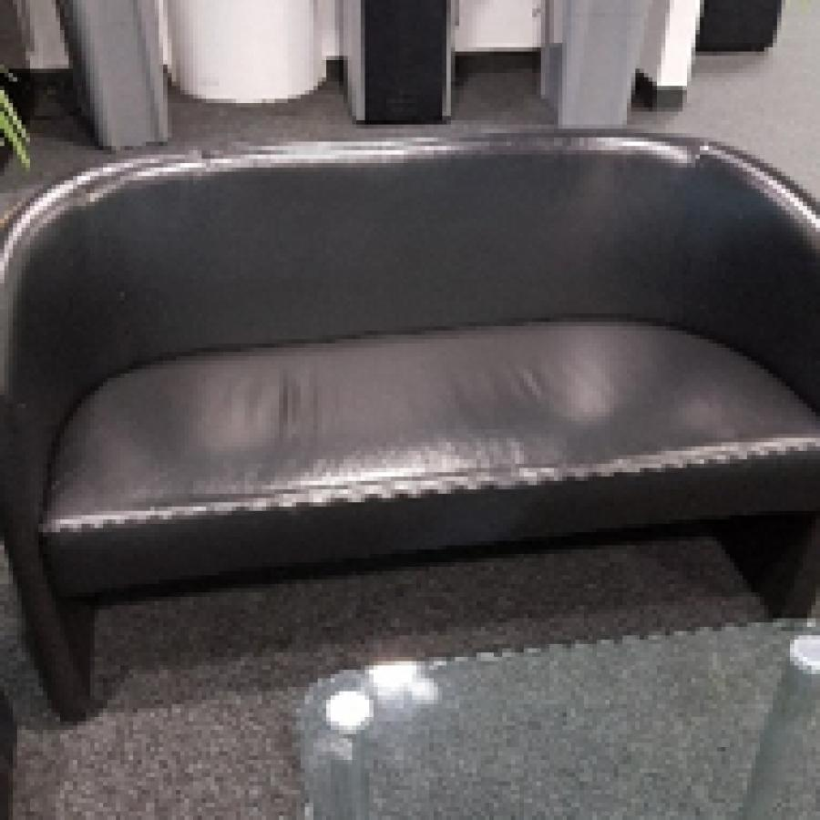 Black Leather Reception Tub Sofa