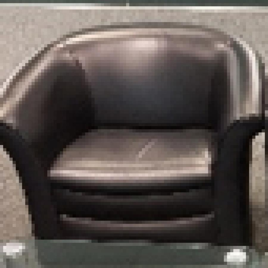 Black Leather Reception Tub Chair