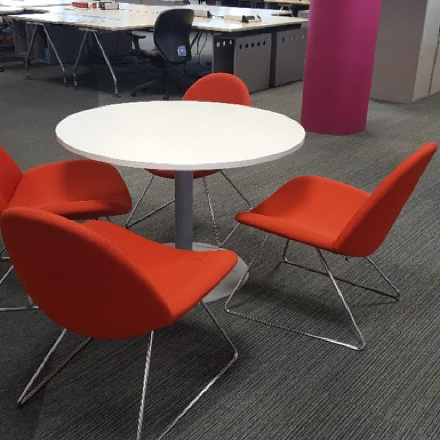 Orange Fabric Breakout Reception Chair