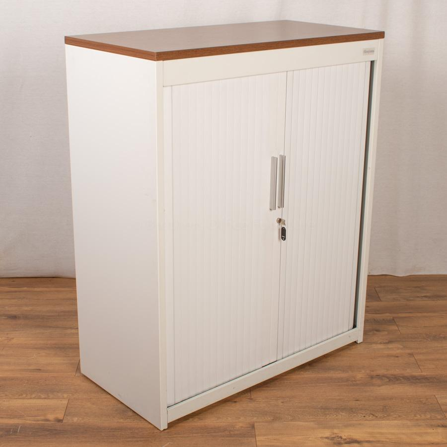 Flexiform White 1200H Tambour Cupboard with Top