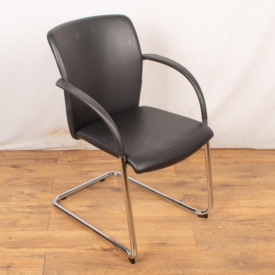 K&N Black Leather Meeting Chair