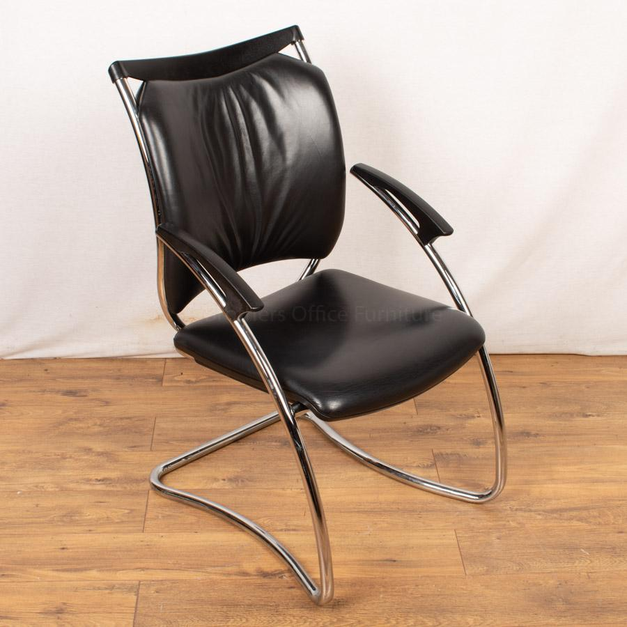 Interstuhl Black Leather Meeting Chair