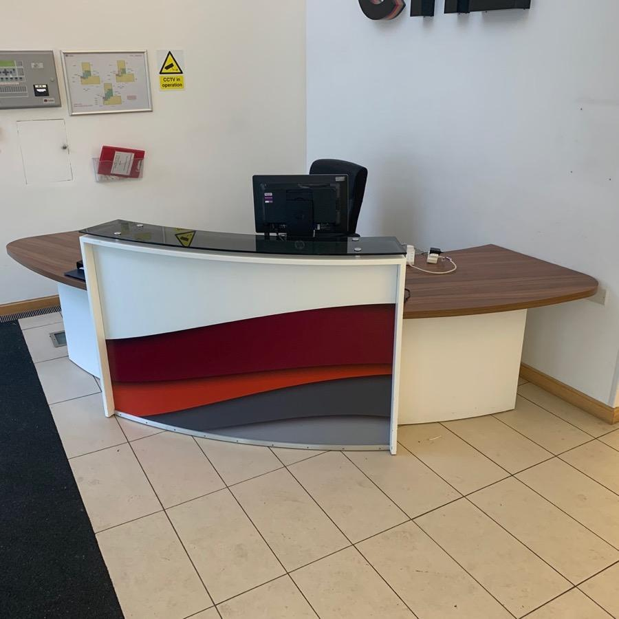 White/Walnut Reception Desk