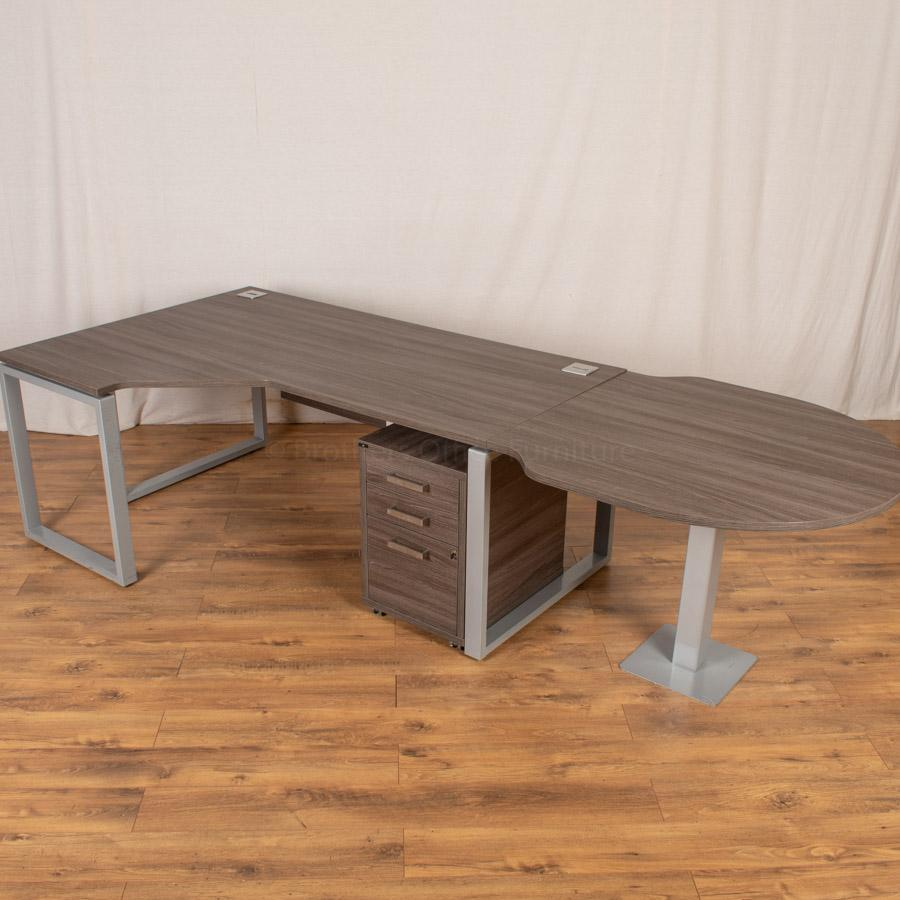 Walnut Corner Workstation with Meeting End
