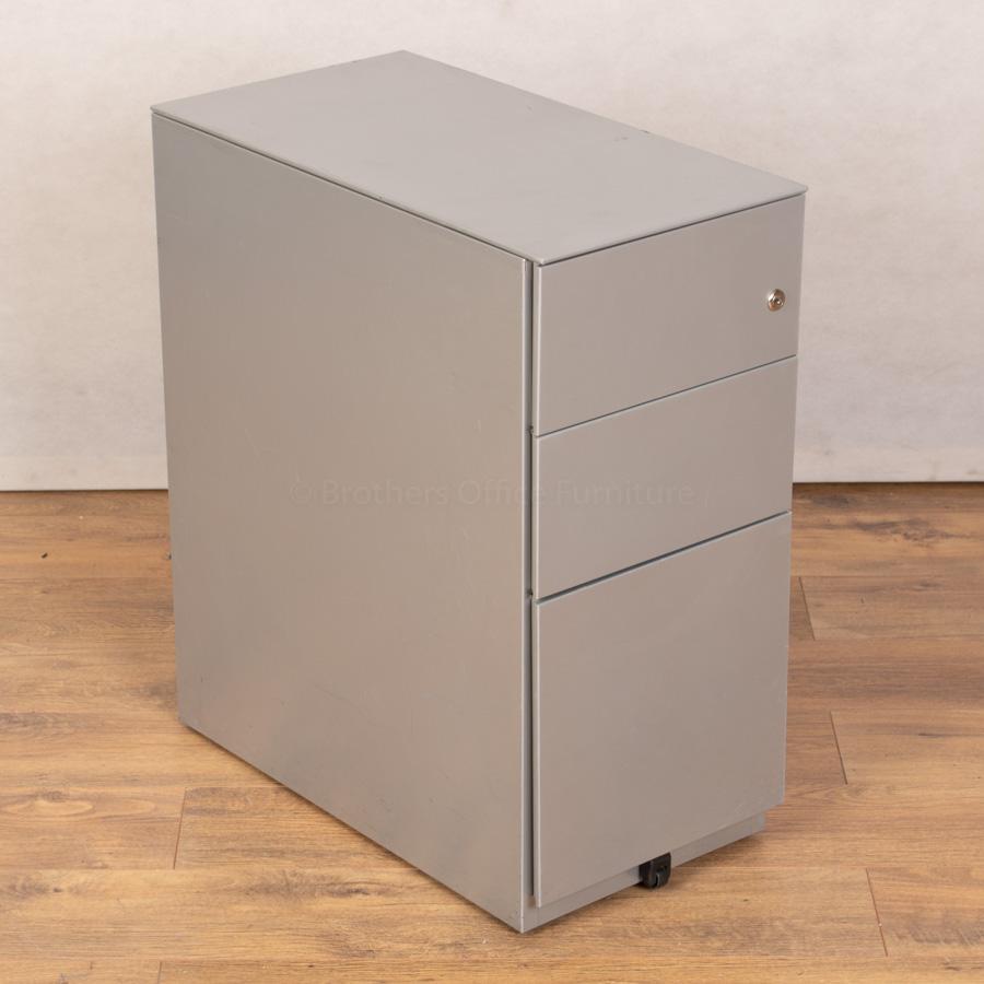 Silver Slimline 3 Drawer Office Pedestal (PED131)