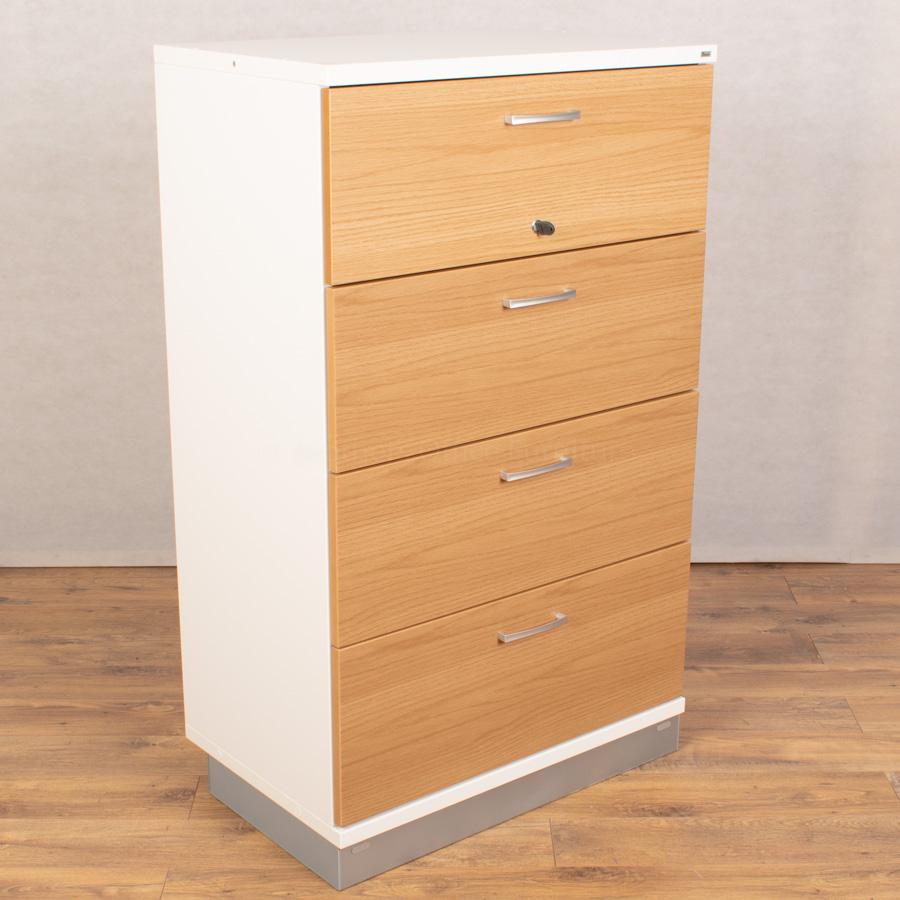 Kinnarps Oak/White 4 Drawer Lateral Filing Cabinet