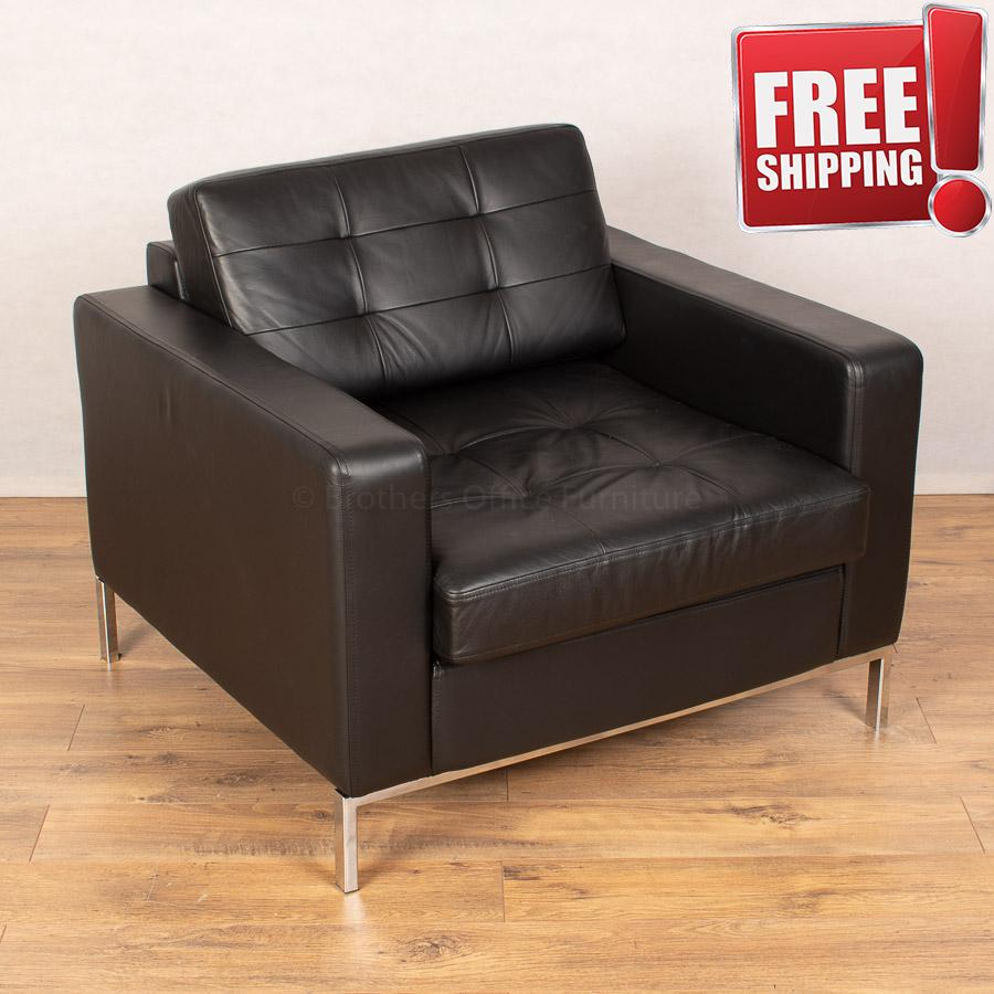 Connection Check Black Leather Arm Chair