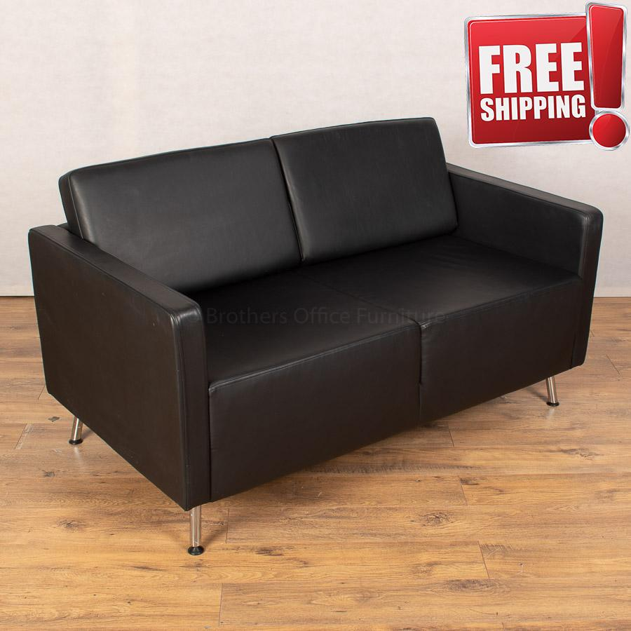 Orangebox Black Leather Sofa