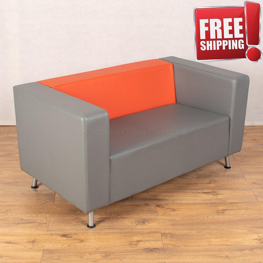 Connection Light Grey/Orange Leather Sofa