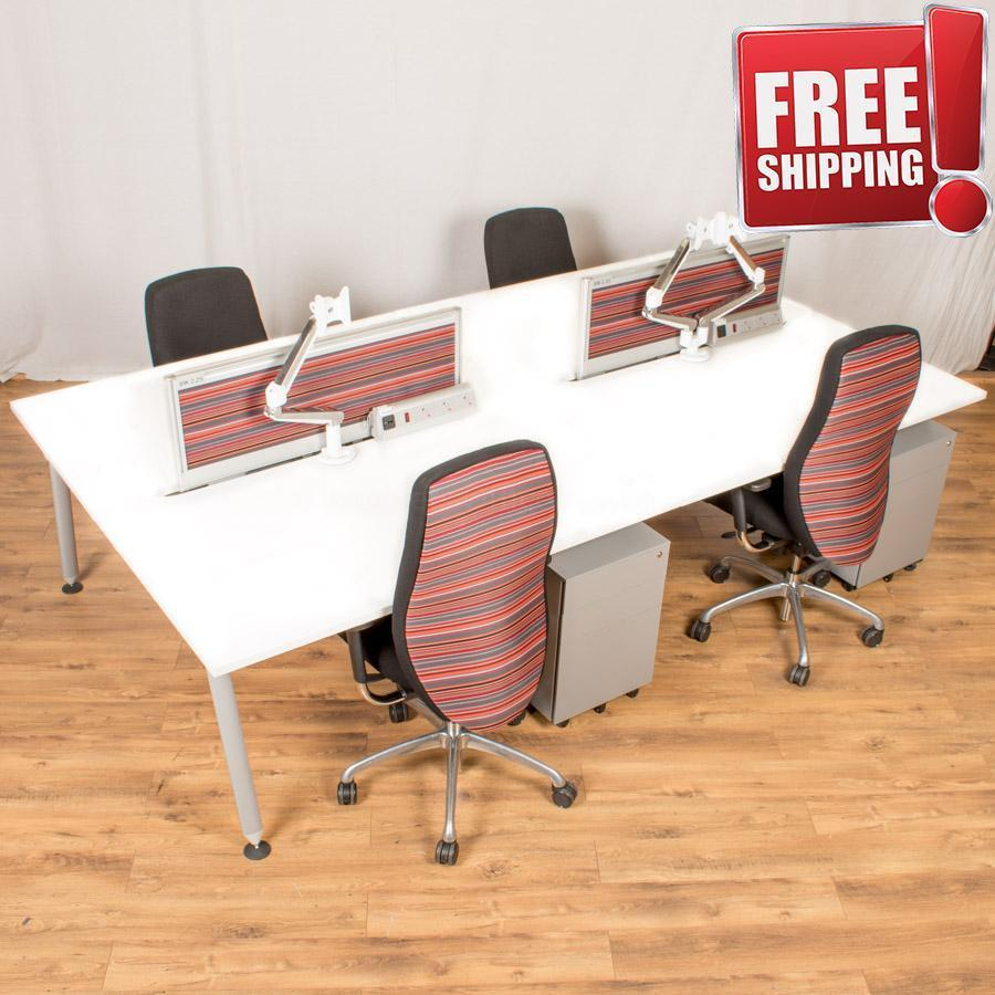 Herman Miller Abak White Bench Desks | 600 Deep