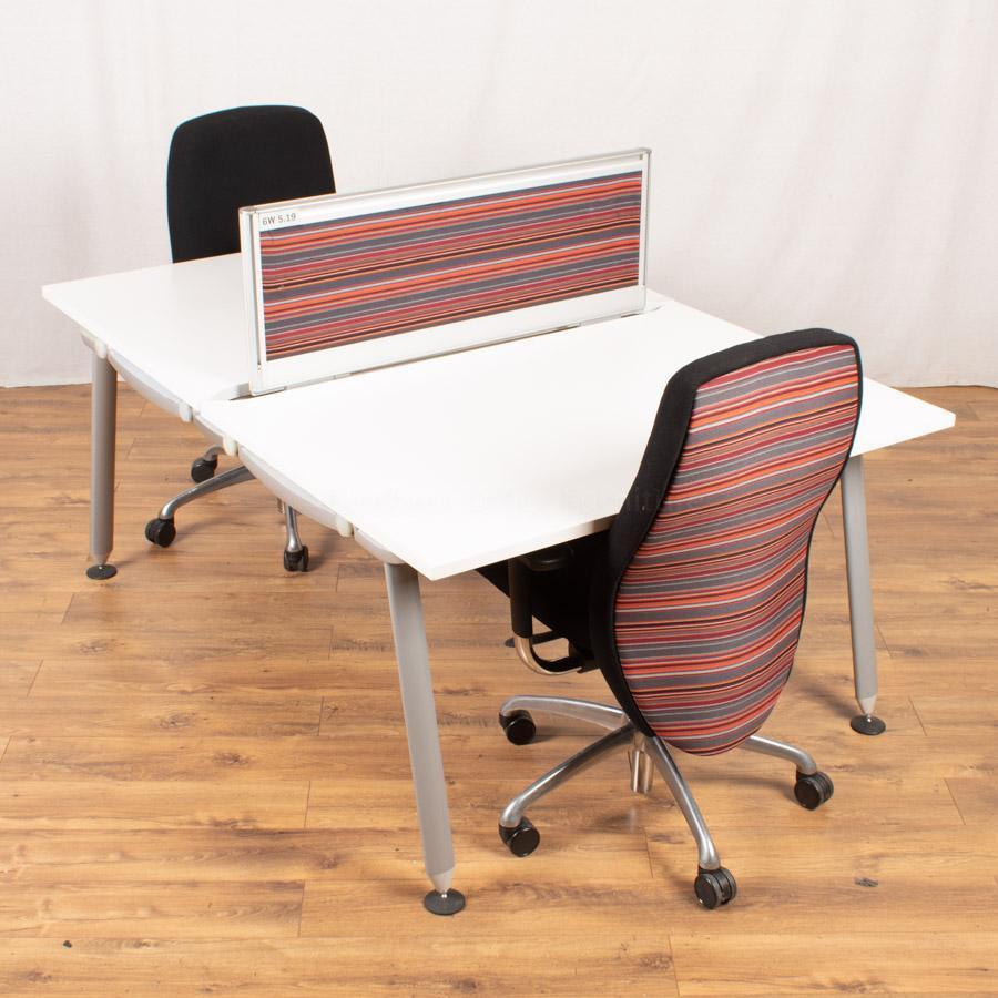 Herman Miller Abak White Bench Desks | 600 Deep