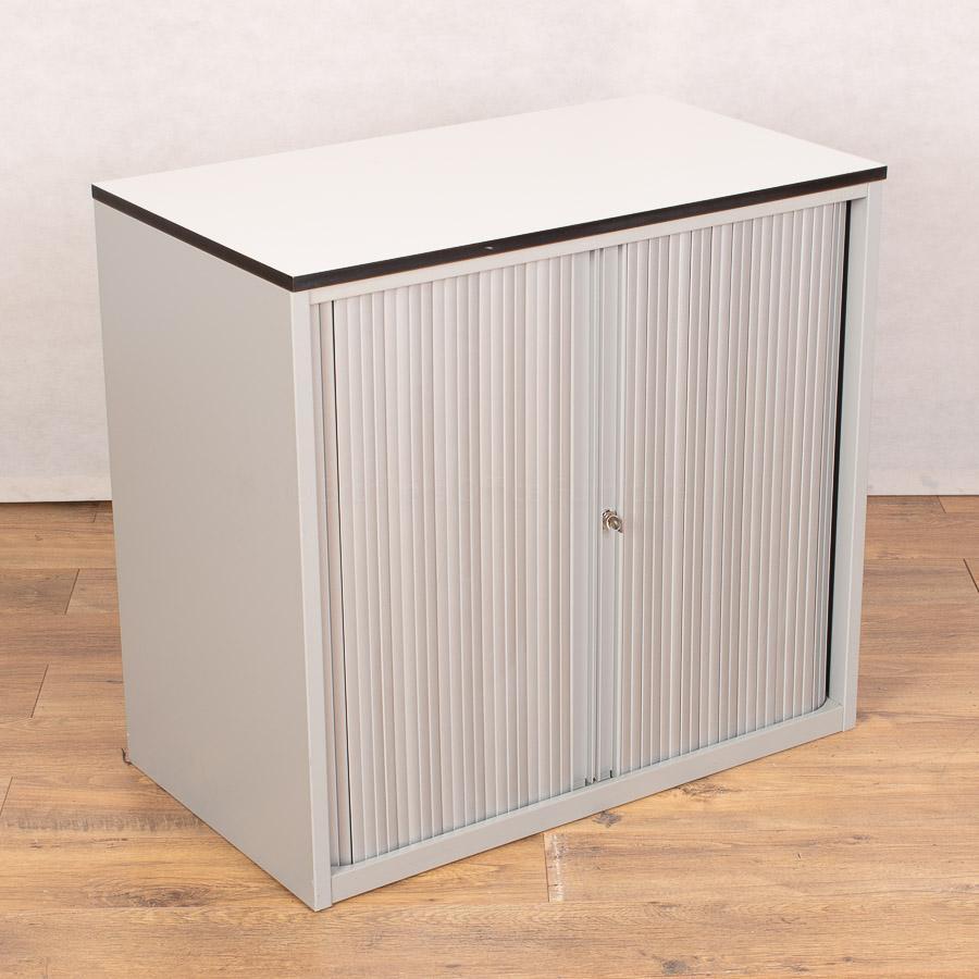 Techo Silver/White 740H x 800W Tambour Cupboard