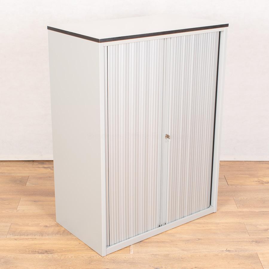 Techo Silver/White 1080H x 800W Tambour Cupboard