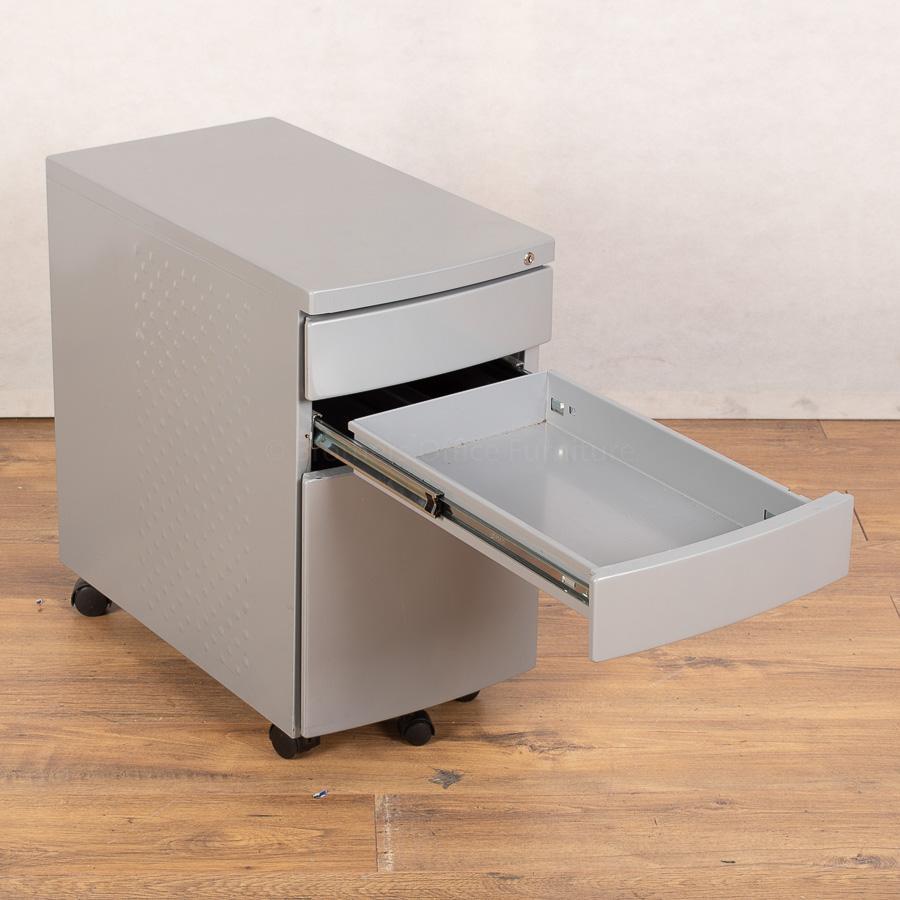 Silver Steel Slimline Office Pedestal (PED143)