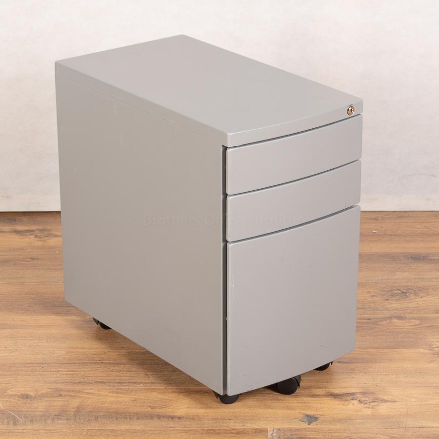 Silver Steel Slimline Office Pedestal (PED144)
