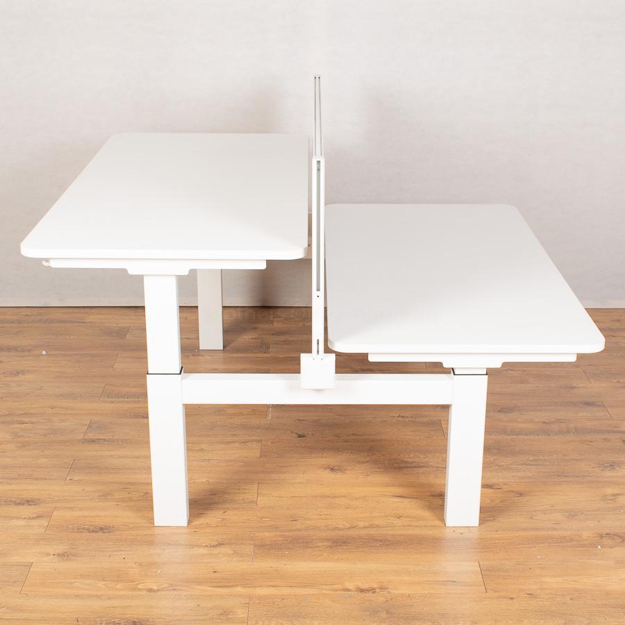 White 1600x800 Height Adjustable Bench Desks