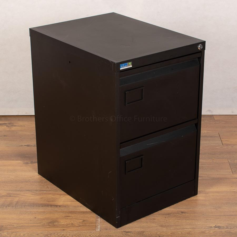Silverline Black 2 Drawer Filing Cabinet