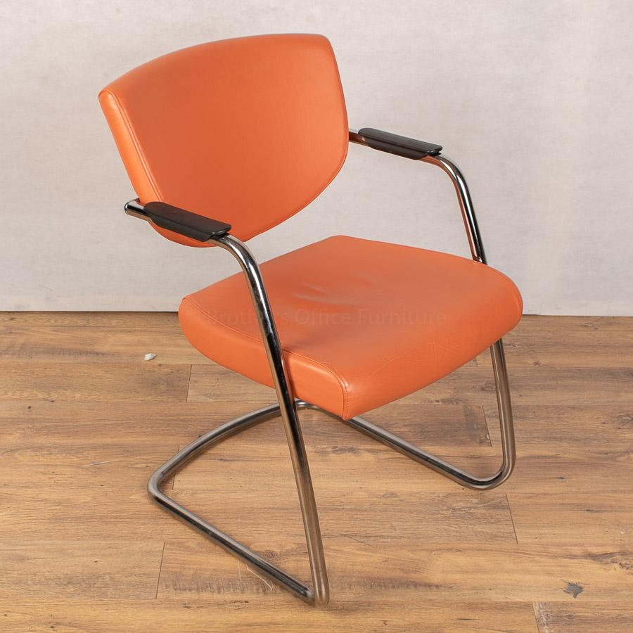 Pledge Key Orange Leather Stackable Meeting Chair