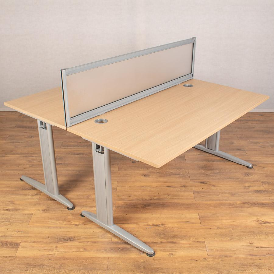 Senator Jigsaw Oak 1600x800 Straight Desks