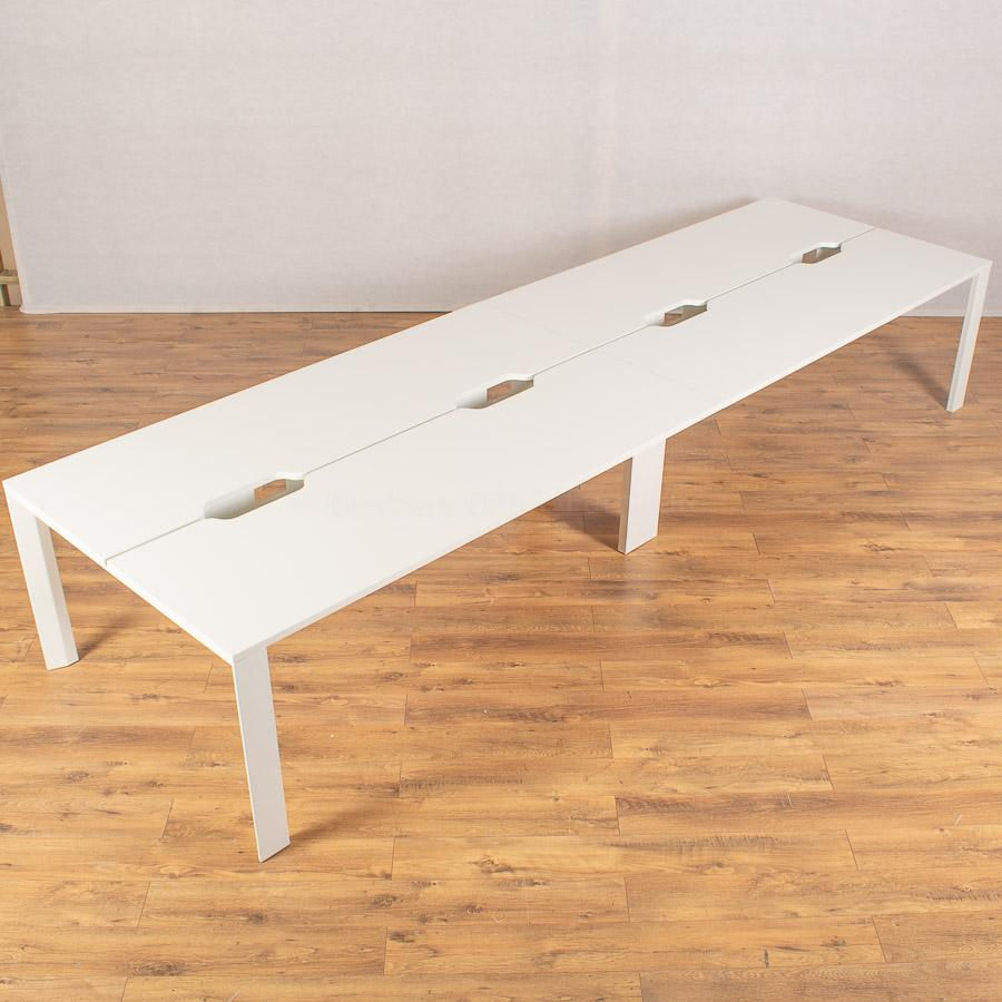 White 8 Person Bench Desk