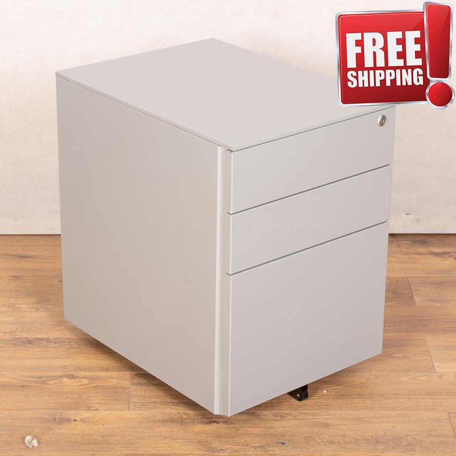 Silver Steel 3 Drawer Office Pedestal (PED148)
