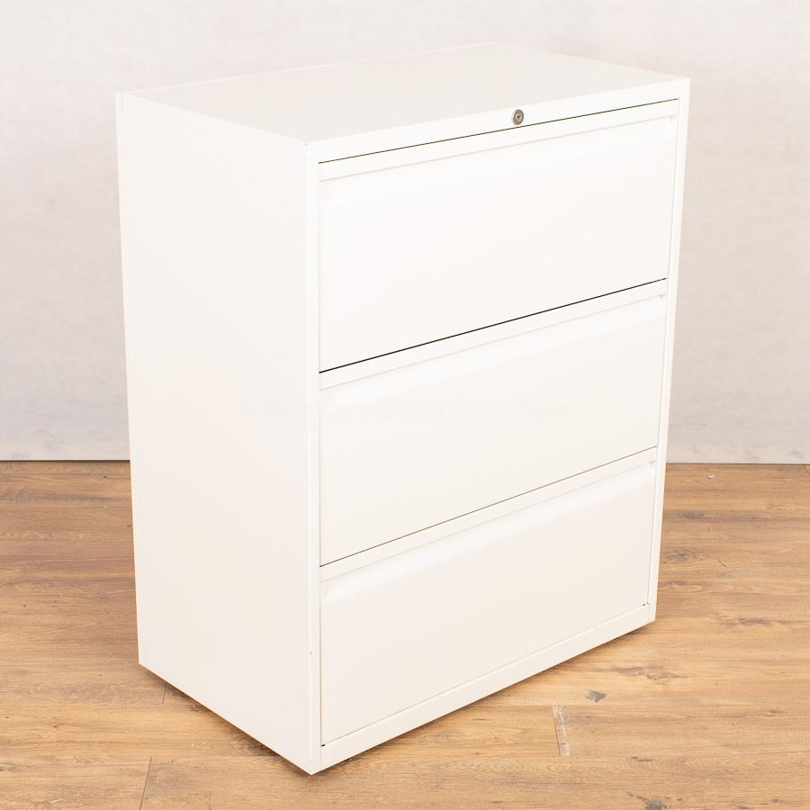 Bisley White 3 Drawer Lateral Filing Cabinet